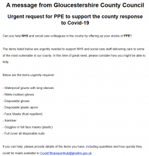 Urgent request for PPE from Gloucestershire County Council