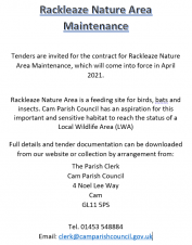 Tenders for the maintenance of the Rackleaze Nature Area are now open